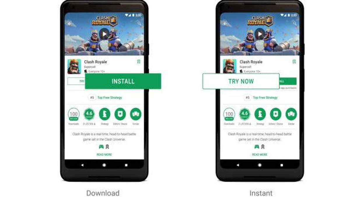 Скриншот с видео-презентации Google Play Instant