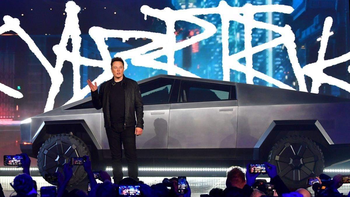 Илон Маск на презентации Tesla Cybertruck