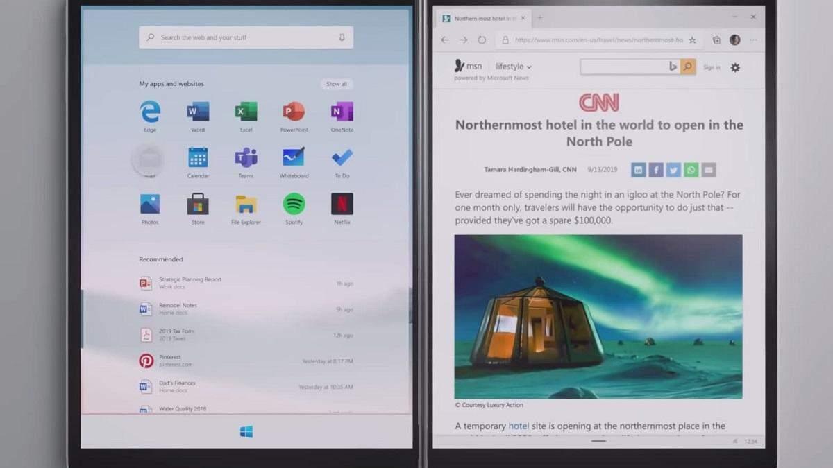 Windows 10X будет работать в довольно необычных режимах работы