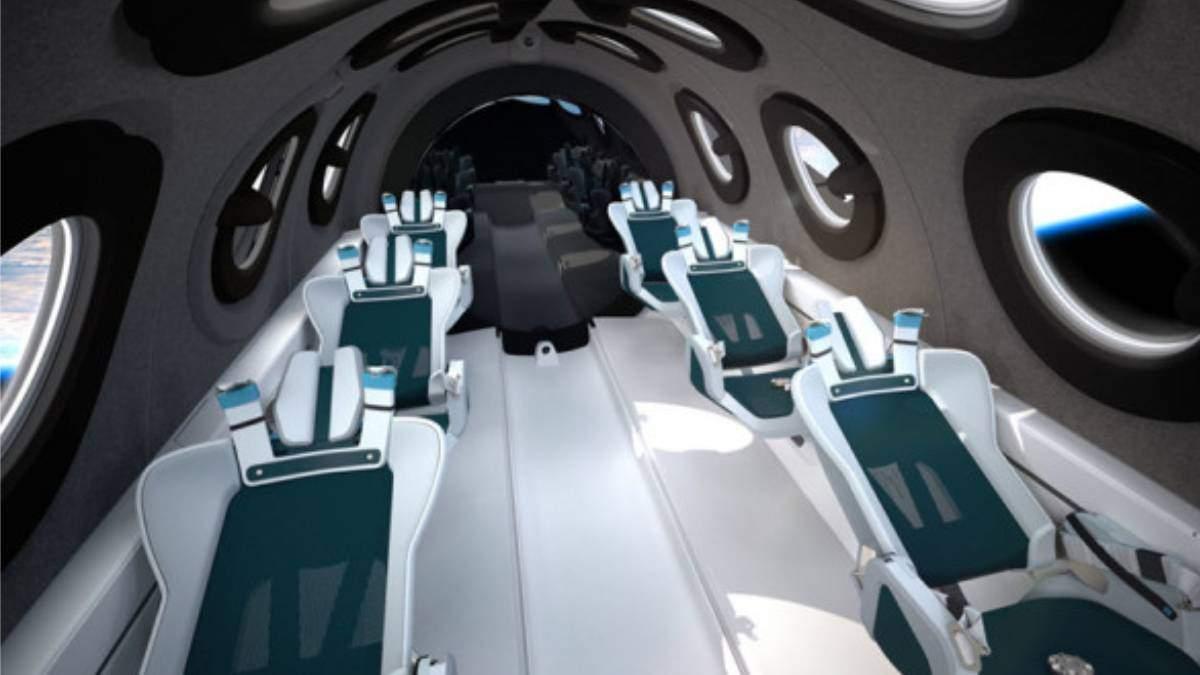 Космический туризм: Virgin Galactic показала интерьер кабины космоплана