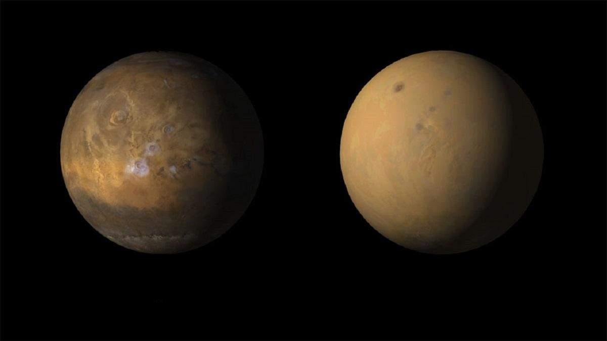 Марс до и после песчаной бури
