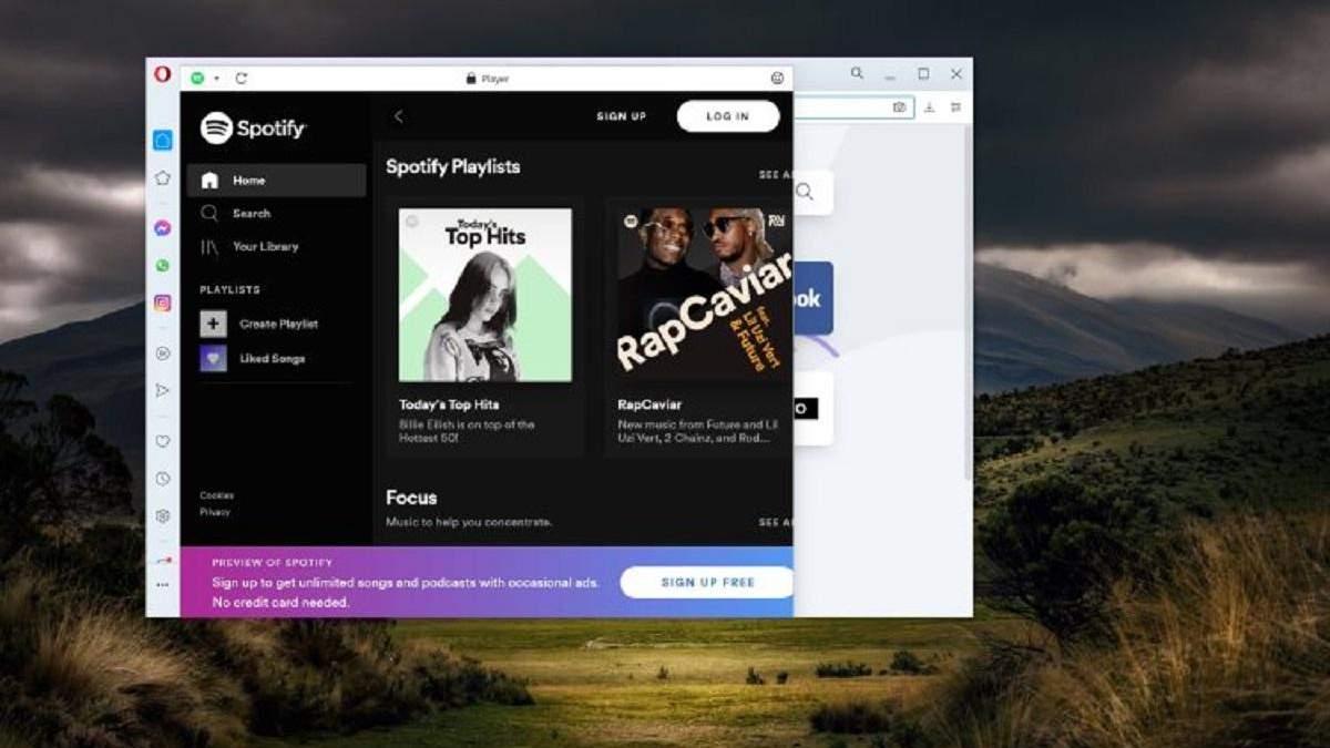 Opera отримала програвач, через який можна користуватися Spotify, Apple Music або YouTube Music