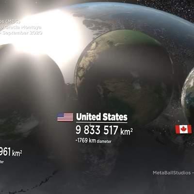 Как бы выглядели страны мира, будь они планетами: познавательное видео
