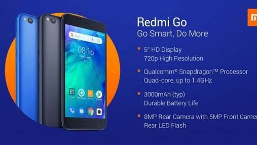 Бюджетний смартфон Xiaomi  Redmi Go представили офіційно: ціна і характеристики