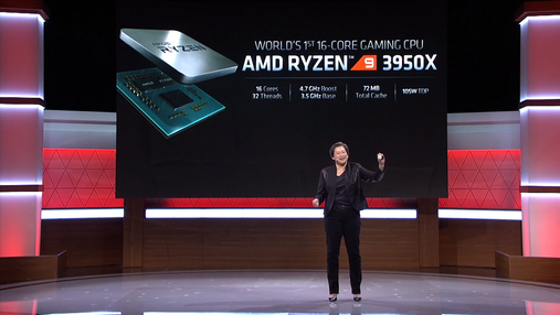 AMD офіційно представила 16-ядерний процесор Ryzen 9 3950X