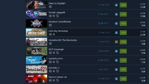 Знижки в Steam до 90% на більше ніж 900 ігор