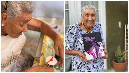 90-річна бабуся стала зіркою тіктоку, малюючи свої абстрактні твори