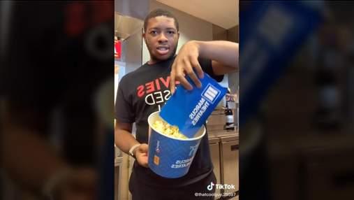 Маленький і середній – однакові: тіктокер показав, як обманюють любителів попкорну в кінотеатрах
