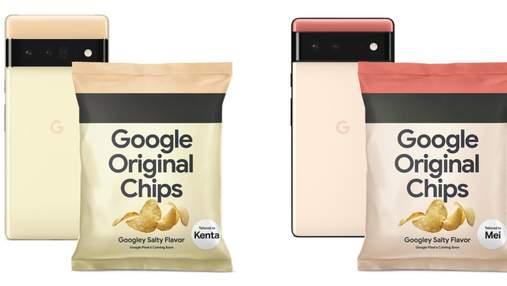 Смачна реклама з секретом: Google випустила чіпси у дизайні смартфонів Pixel 6